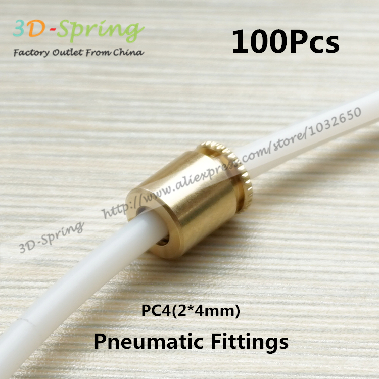 100Pcs Pneumatic Fittings PC4 2*4mm Bore 4.2mm For 4mm Tube PTFE Quick Connector Direct Rhermal Head Feed Inlet Pipe Joints