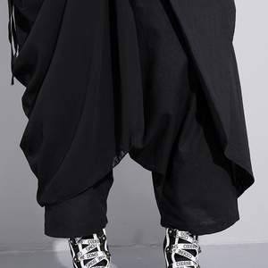 Image 5 - [EAM] 2020 New Spring High Elastic Waist Black Fold Bandage Stitch Loose Long Cross pants Women Trousers Fashion  JF897
