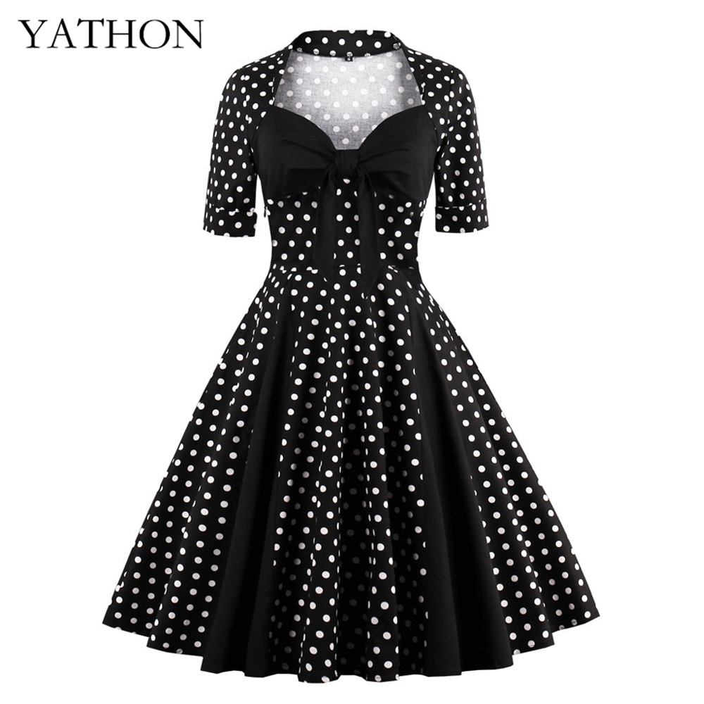 YATHON Plus Size 4XL Vintage Polka Dot Bow Dress Womens 50s Retro Rockabilly Patchwork Square Collar