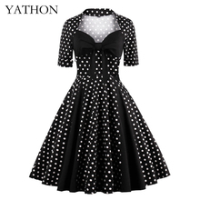 YATHON Plus Size 4XL Vintage Polka Dot Bow Dress Womens 50s Retro Rockabilly Patchwork Square Collar Casual Party Swing Dresses
