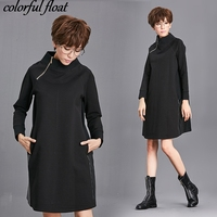 Large Size Womens 2017 Autumn And Winter New Dress Bottoming Wear Spell Stretch Was Thin Long