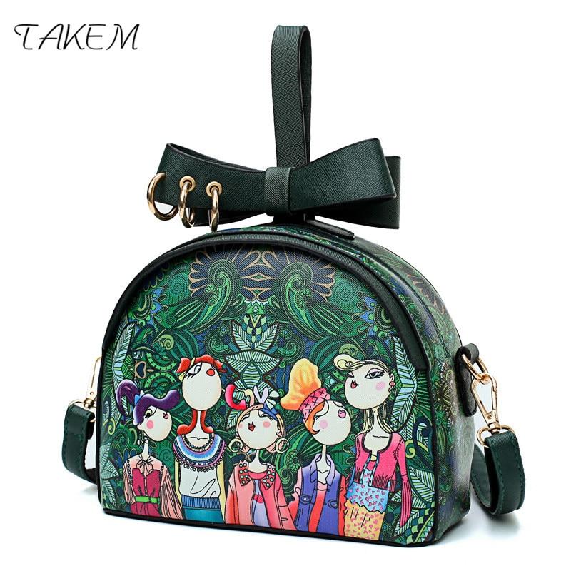 TAKEM Forest series Brand Design Women Leather Mini Bag Forest Green Fasion Messenger Bags Ladies Single Shoulder Crossbody Bags dark green stitching design crossbody bags