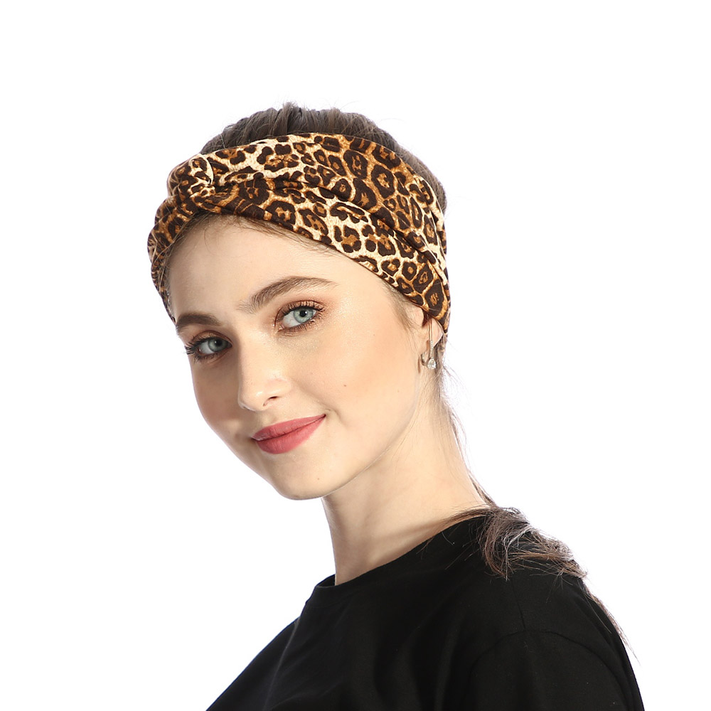 Fashion New Leopard Cross Knot Headband For Women Elastic Stretch Velvet Hairbands Twist Wide Headwear Casual Hair Accessories
