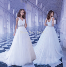 2015 Charming Sheer Wedding Dresses A Line V Neck Beads Sash Rhinestone Ruffle Sweep Train Bridal Gown yk1A256