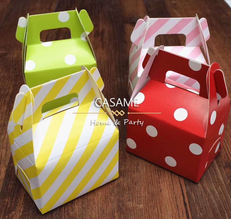 12pcs Birthday Paper Candy Box Wedding Favors Polka Dot Candy Boxes Kids Party Favor Box Diy Gift Box Supplies Polka Candy Bag
