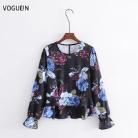 VOGUEIN New Womens Spring Floral Print Long Sleeve Pullover Shirt Blouse Tops Wholesale