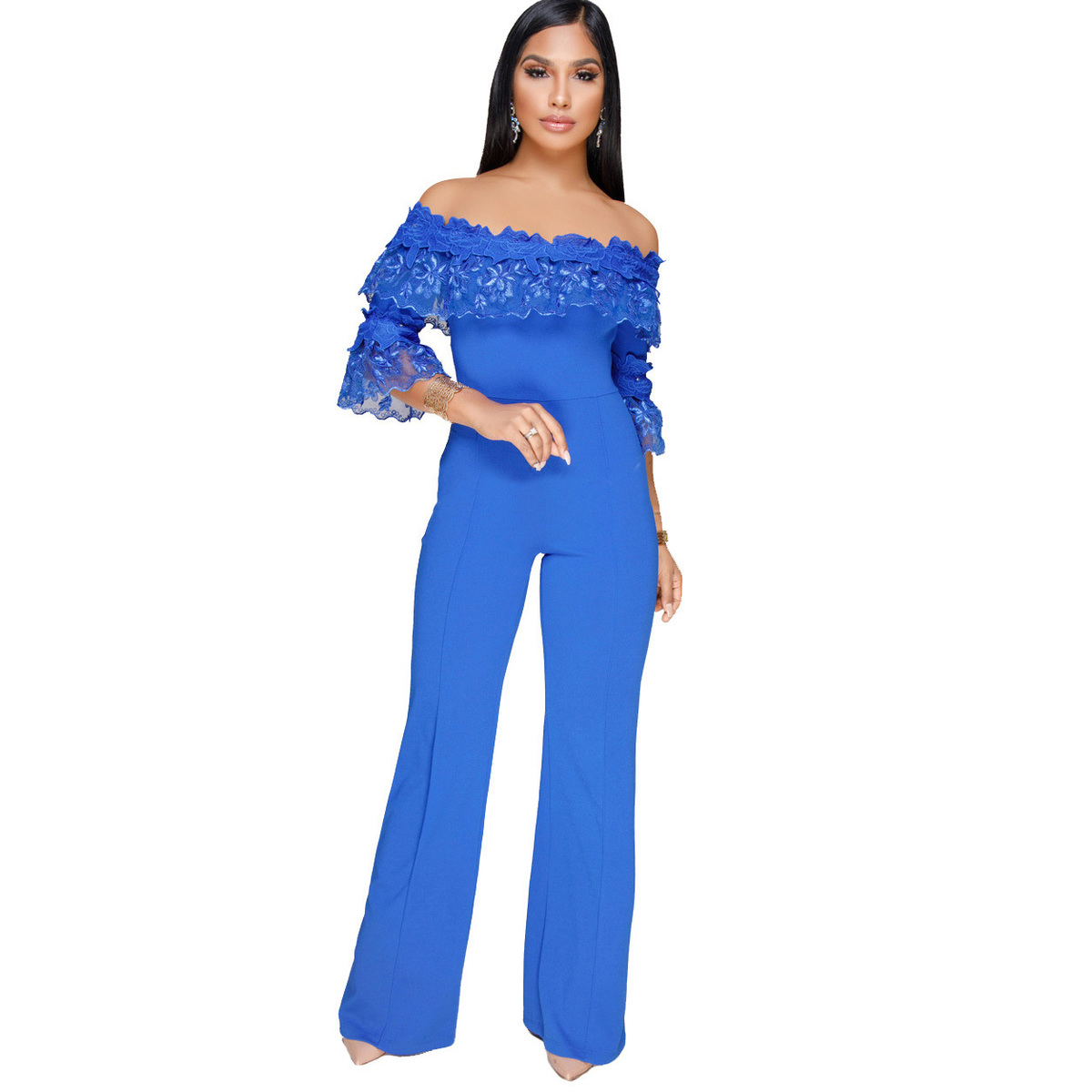 Plus Size Casual Women Jumpsuit Off Shoulder Lace Ruffles Sexy Party Rompers Womens Loose Jumpsuit Long Pants Women Overalls