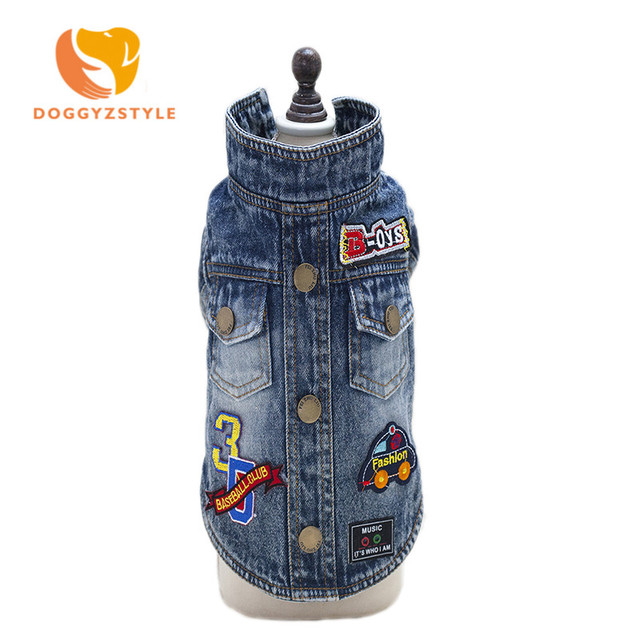 DOGGYZSTYLE Pet Dog Cat Jean Denim Outwear Costume Newest Dog Jacket Clothing Personalized Pet Puppy Vest Coat Apparel