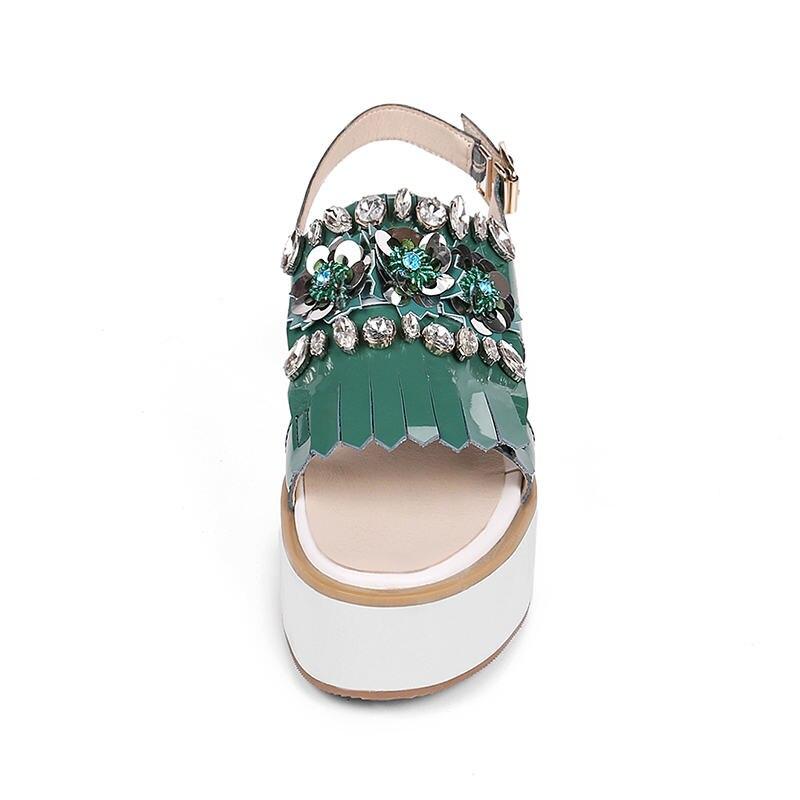 Caliente Tamaño Nueva Genuino Zapatos De Mujer Doratasia Venta Cuero 34 Correa 39 Ocio 2019 Sandalias Marca Verde rosado Popular CW6w65qp7x
