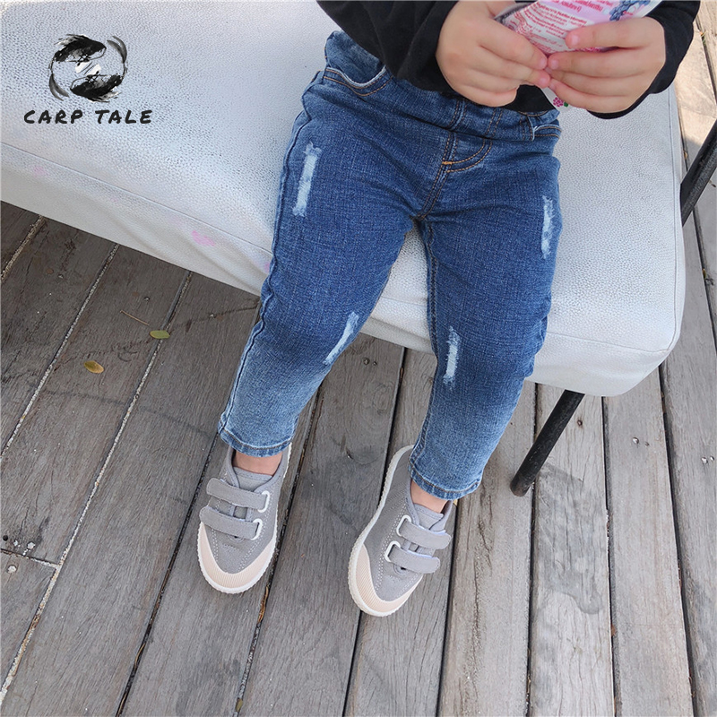 2019 Nuova Primavera Abbigliamento Per Bambini Ragazzi E Ragazze Del Bambino Di Colore Di Pendenza Slim Jeans Pantaloni Infantili Dei Pantaloni Del Pannolino Neonato Pantaloni