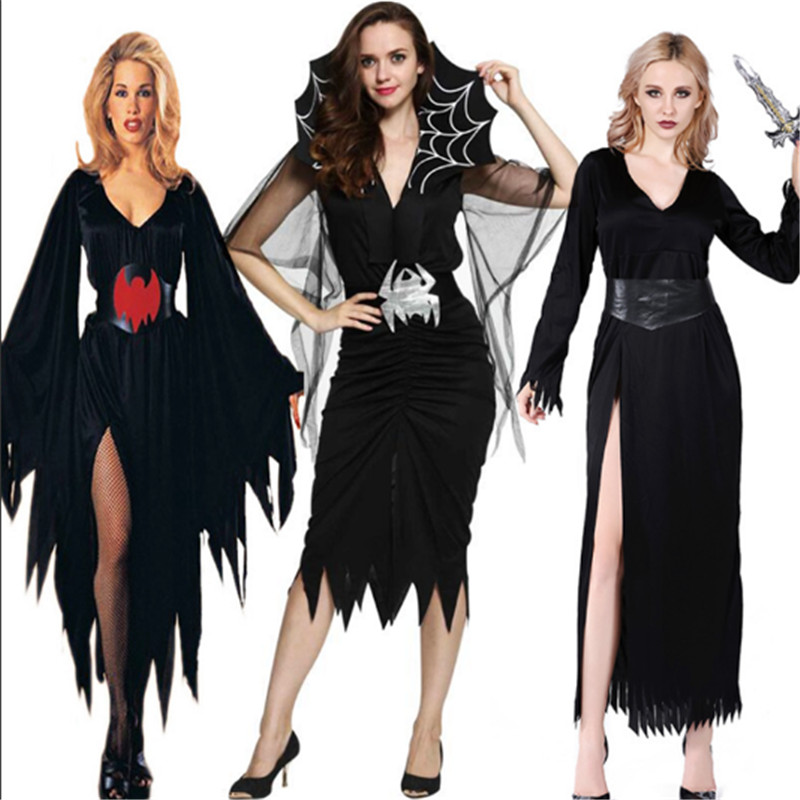 <font><b>Halloween</b></font> <font><b>Sexy</b></font> <font><b>vampire</b></font> <font><b>Costume</b></font> For Women Scary Evil queen Zombie Corpse Skeleton Skull goat Bride Cosplay Dress Day of the Dead image