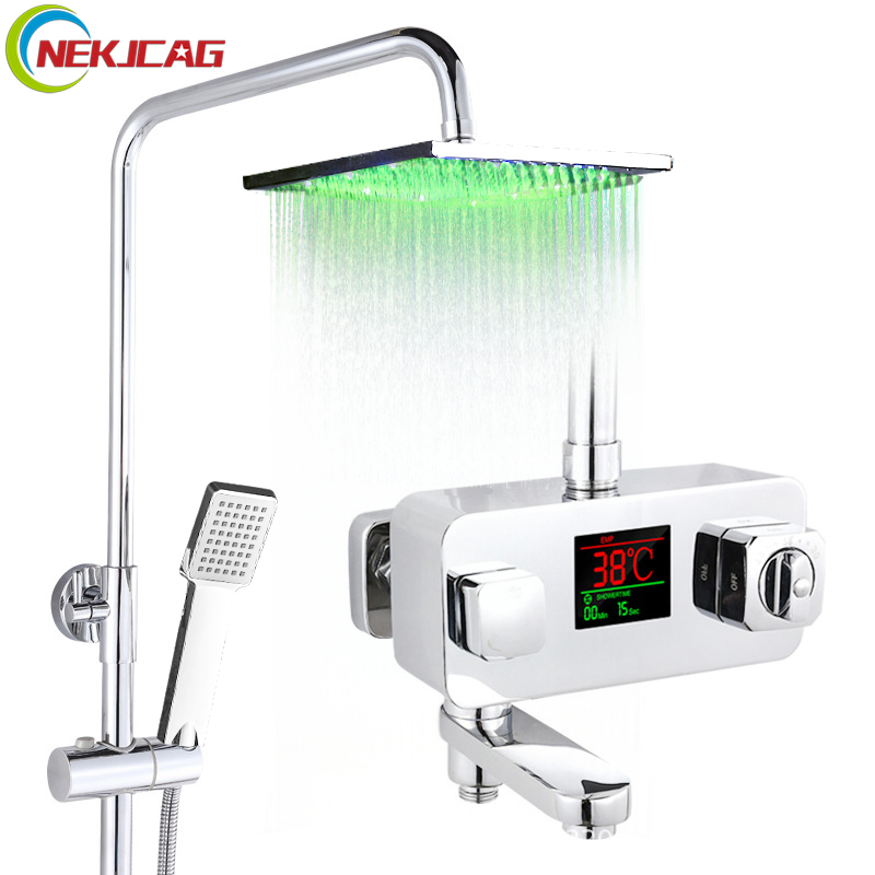 Temperature Display Bathroom Shower Faucet Chrome Thermostatic Digital Display Mixer Water Faucet Cold and Hot Water Taps china sanitary ware chrome wall mount thermostatic water tap water saver thermostatic shower faucet