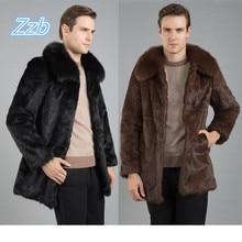 Men 2016 new winter black Brown fashion faux fur coat Fox Turn-down Collar full coats men mink rabbit jacket