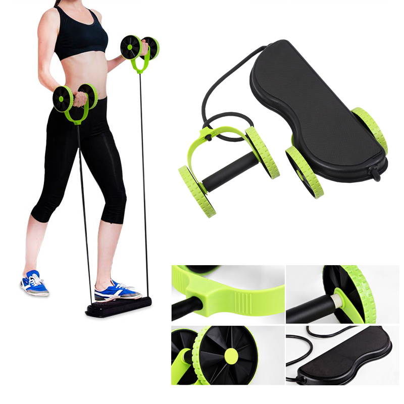 Display of woman working out with Ab roller with resistance band Home Gym Kit - Trusted Gadget Store - Highly Reviewed Products That Provide Real Solution To Everyday Problems