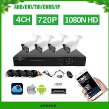 4CH DVR комплекты Поддержка 5 в 1 DVR 4 шт. 720 P ИК внешняя цилиндрическая камера домашняя система безопасности комплекты наблюдения AS-MVK2204E-H