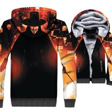 V for Vendetta Jacket Black Hoodie Men Cool Hooded Sweatshirt Winter Thick Fleece Warm Zip up 3D Print Coat Hip-Hop Sportswear