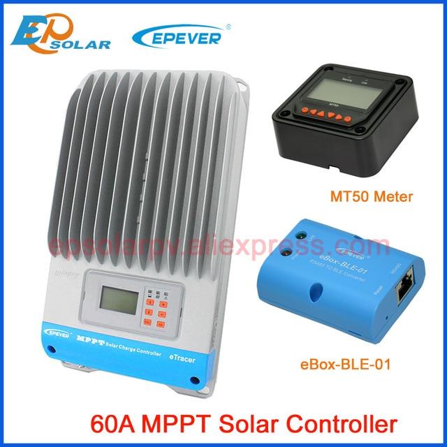3434e5ba6b0 Bluetooth function MPPT solar charge controller 60amp EPEVER ET6415BND 12v  24v 36v 48v auto work with ebox BLE 01 Solar charger