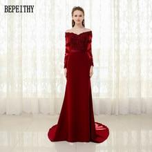 BEPEITHY vestido de festa 2017 New Arrival Burgundy Prom Dress Appliques Beads Mermaid Long Sleeve Sash Evening Dresses