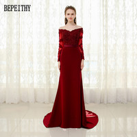 Vestido De Festa 2017 New Arrival Prom Dress Appliques Beads Mermaid Long Sleeve Sash Evening Dresses