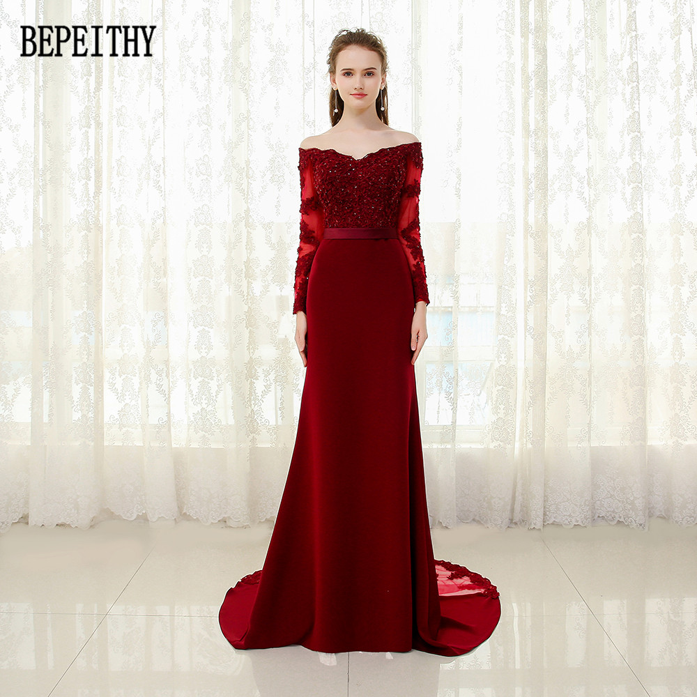 BEPEITHY vestido de festa 2019 New Arrival Burgundy Prom   Dress   Appliques Beads Mermaid Long Sleeve Sash   Evening     Dresses