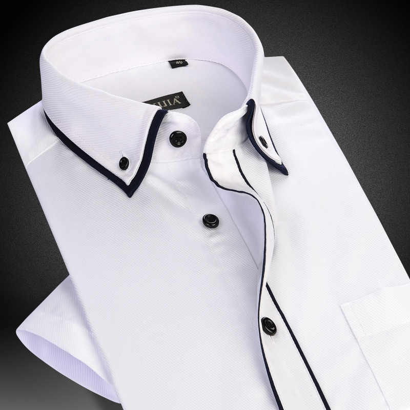 f65b0a83aceb0fe Men's Short Sleeve Double Layer Collar with Black Piping Dress Shirt White  Summer Smart Casual Slim
