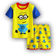 Todder Kids Pajamas Set Children Sleepwear Baby Sets Boy Short Sleeve Cartoon 100%Cotton Nightwear Homewear Kid Clothing