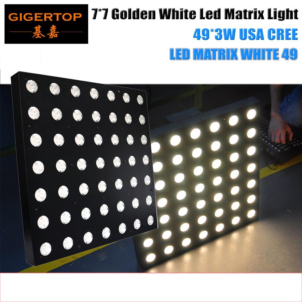 Tiptop 7x7 LED матрица светлое золото Цвет США CREE 3 Вт лампы 50 см x 50 см тонкий чехол цепи подключения Поддержка этап луч света DMX Управление