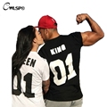 King Queen 01 Letter Funny T Shirts Lovers Couples Unisex Cotton Plus Size T-shirts Tees Womens O-neck Short Sleeve Tops QZ1282