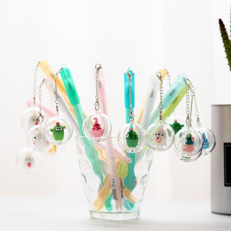 цена на Colorful Cactus Radish Rabbit Pendant Gel Pen Signature Pen Escolar Papelaria School Office Supply Promotional Gift