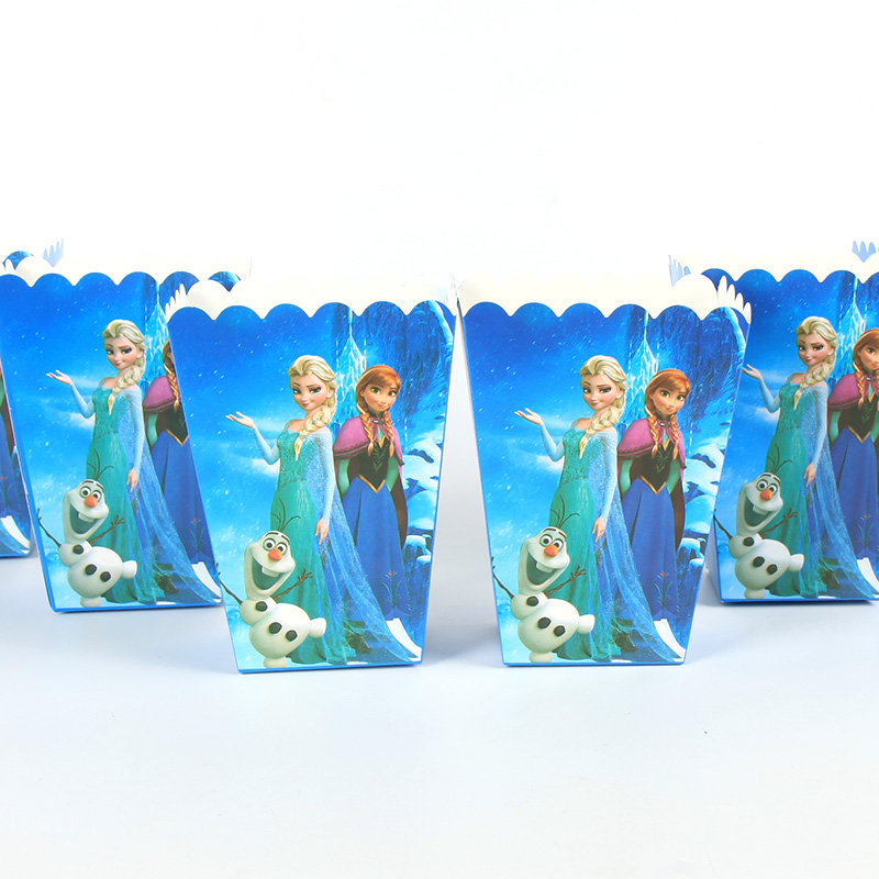6pcs/lot Disney Frozen Candy Popcorn Boxes For Wedding Party Supply Party Popcorn Bags Kids Favors Disposable Package