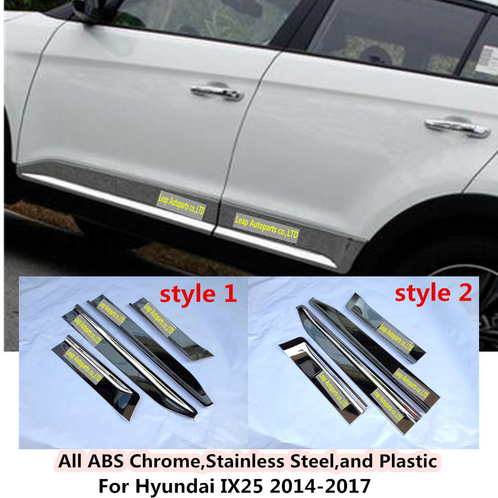 Car styling cover detector ABS chrome Side Door Body trim Strips Molding hoods 4pcs/set For Hyundai IX25 2014 2015 2016 2017 2015 hyundai tucson abs electroplating taillight frame decorative trim trim car styling