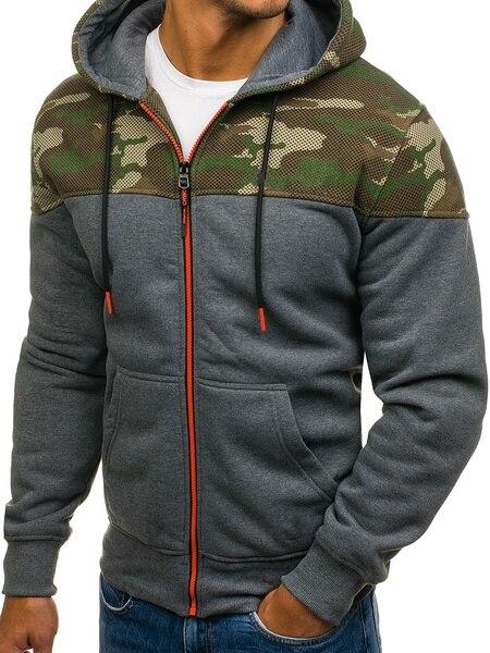 Zogaa Men Sports Casual Wear Zipper Army Green Fashion Tide Jacquard Hoodies Fleece Jacket Fall Sweatshirts Autumn Winter Coat in Hoodies amp Sweatshirts from Men 39 s Clothing
