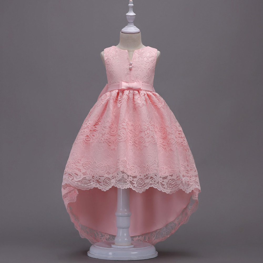 Girls Tailing Lace Dresses Big Bow Princess Vestidos Costumes Fever Wedding Birthday Tail Party Frocks For 4 6 8 10 12 14 Years new high quality fashion excellent girl party dress with big lace bow color purple princess dresses for wedding and birthday