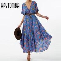 Boho Vintage Bird Floral Print Tassel Dress Women 2018 New Fashion Batwing Sleeve V Neck Beach