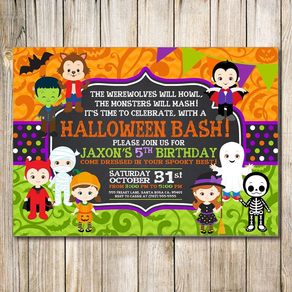 Halloween Birthday Invitation, Kids Halloween Party Invitation ...