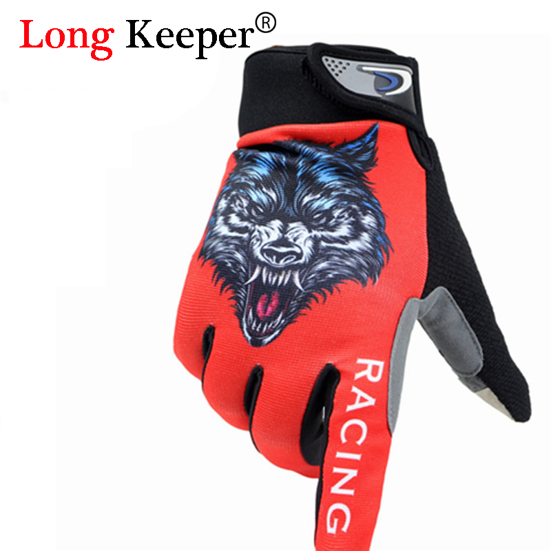 2016 New Mens Full Finger Gloves Gym Sport Kiss Screen Gloves for Men Women Animal Wolf Pattern Fitness Work Out guantes M1291