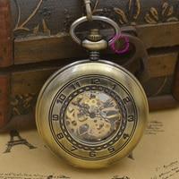 wholesale men Mechanical Pocket Watch arabic man fob watches steampunk bronze roman antique vintage retro Stylish hand Wind good