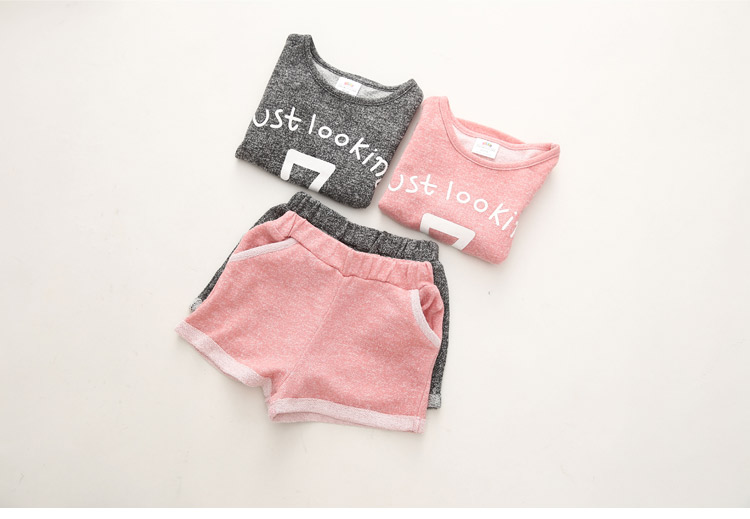 Girls Clothing Set 2018 Summer 2 3 4 5 6 7 8 9 10 Years Old Kids Girl Number Letter Print Short Sleeve T Shirt+Shorts Sports Set (16)