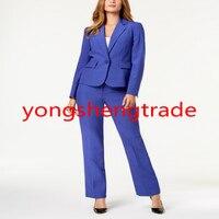 Синий женский костюм на заказ Женская Деловая одежда женский офисный брючный костюм 138