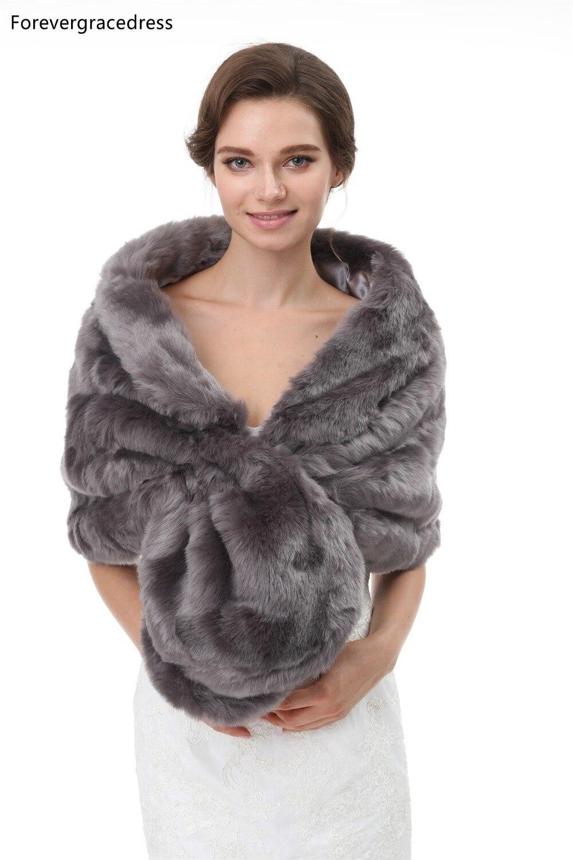 Forevergracedress 2020 Elegant Soft Autumn Winter Faux Fur Bride Wedding Wraps Bolero Jackets Bridal Coats Shawls Scarves PJ402