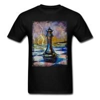 남자 여왕 체스 T 셔츠 최저 사전 목 쿨 Tshirt 디자인 사용자 정의 만든 라운드 칼라