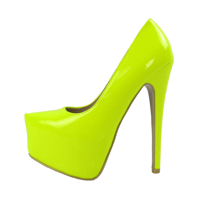 6703a851c Sexy Plus Size 35-41 Women's Shoes Neon Yellow Pink Gold Red Nude Platform  Women's 16cm Ultra High Heels Prom Pumps