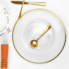 2pcs Glass Dinner Plates Gold Inlay Steak Cake Dessert Charger Plate Table Buffet Dishes Table Service Plates for Wedding Party