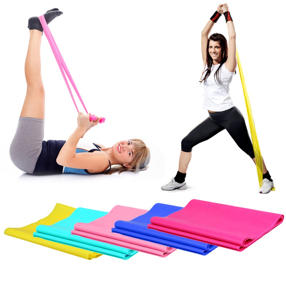1.2m Elastic Yoga Pilates Rubber Stretch Exercise Band Arm Back Leg Fitness All thickness 0.35mm same resistance