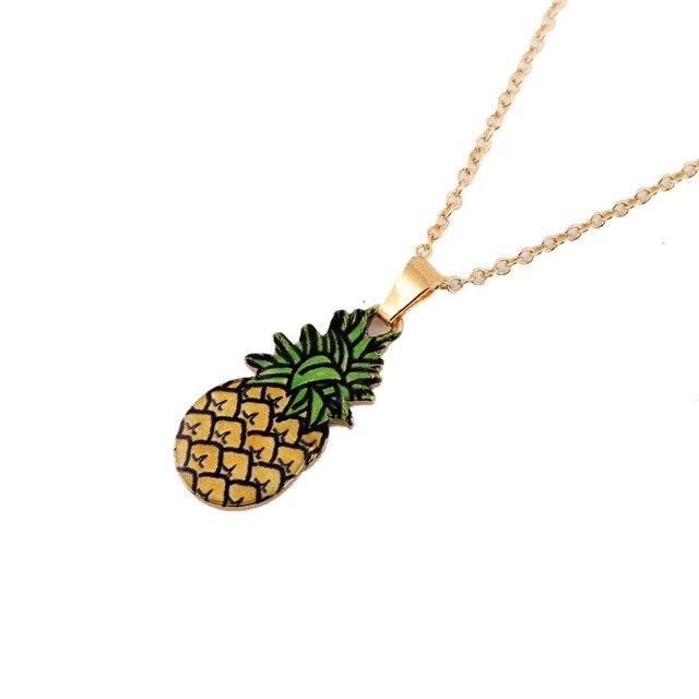 ff8c5bbfcdf9 18   Cadena de piña colgante collar mujeres oro color fruta Collares ...
