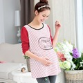 Spring Pregnant women T-shirt 2016 Korean Style T-shirts Long sleeve Stripe Splicing Large size Tops Leisure Loose T-shirt G2504