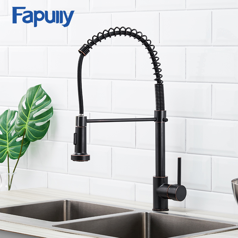 Fapully Spring Brass Kitchen Sink Faucet Oil Rubbed Cold And Hot Water Mixer Single Handle High Arch 360 Rotate Spray Tap 189-33