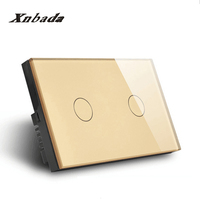 US AU Standard 2 Way Remote Touch Switch Crystal Glass Panel Smart Switch AC110 250V LED