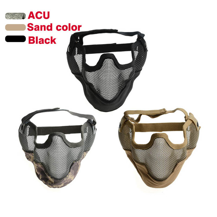 Sand,Black,ACU Hunting Military Mask Airsoft Paintball CS Mask Tactical Wire Mesh Half Face Ear Protection Skull Masks