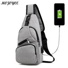 6d24ecd171 Hommes sack de poitrine décontracté Toile USB Recharge Sacs de Messager  pour Hommes Épaule Sac À Main De Voyage De Mode Sac À Ba.